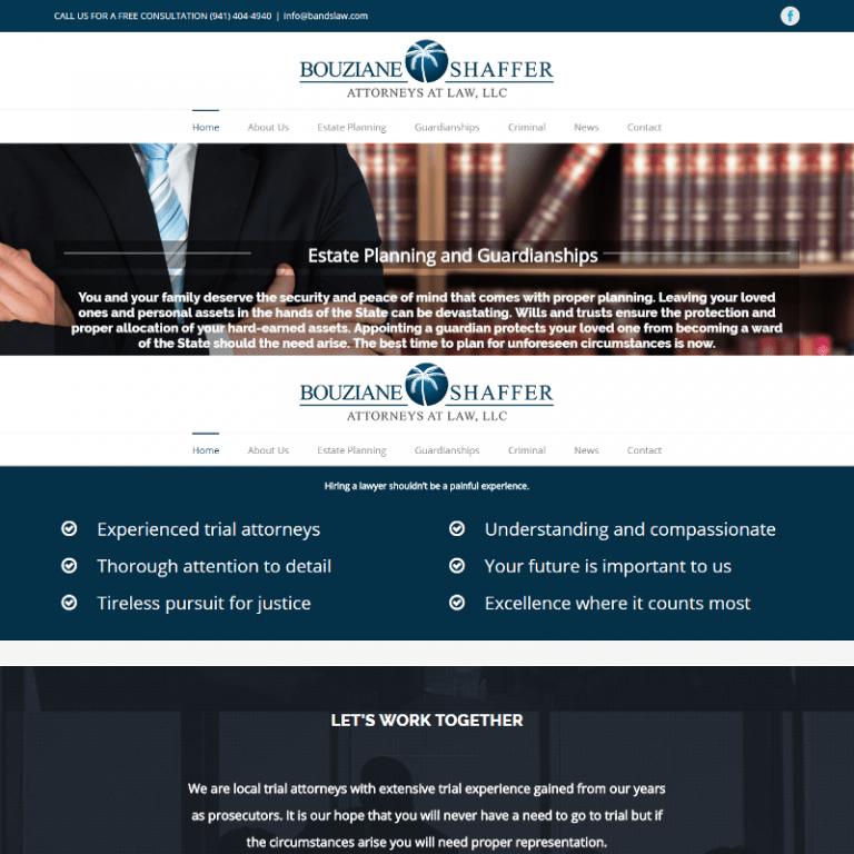 Sarasota Law website designed by Suncoasat Web Marketing