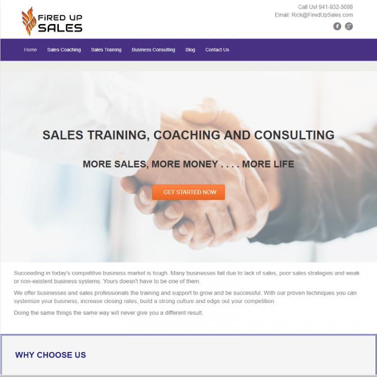 Sarasota Sales coach website designed by Suncoast Web Marketing