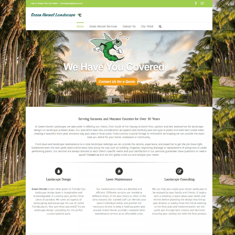 Sarasota's Green Hornet Landscape hosted and maintained by Suncoast Web Marketing