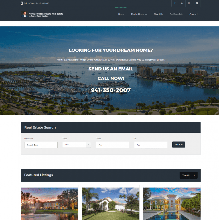 Sarasota Real Estate website designed by Suncoast Web Marketing