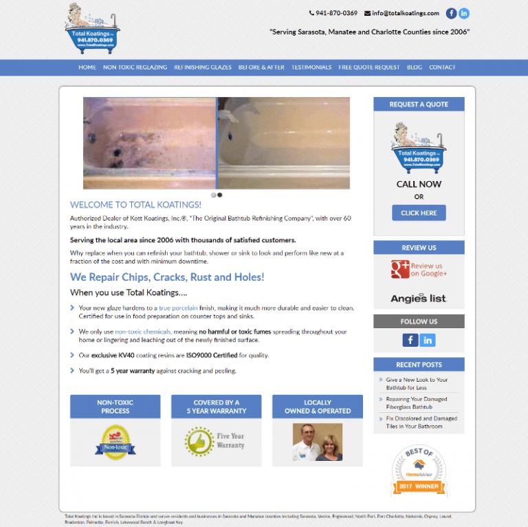 Total Koatings of Sarasota website designed by Suncoast Web Marketing