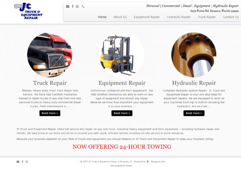 Sarasota Mechanic website designed by Suncoast Web Marketing