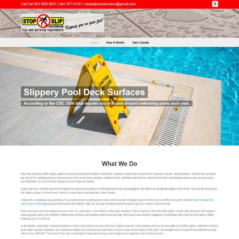 Bradenton's Stop Slip Solutions website designed by Suncoast Web Marketing