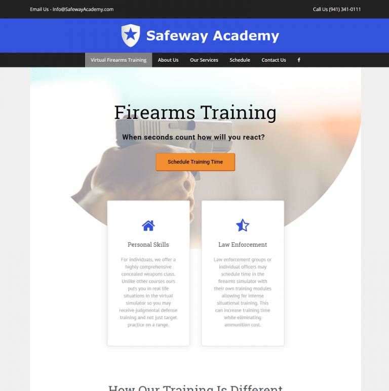 Sarasota gun safety training website designed by Suncoast Web Marketing