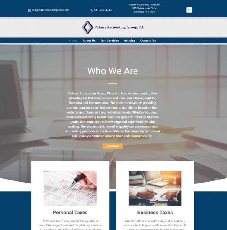 Sarasota Palmer Accounting Group PA website designed by Suncoast Web Marketing