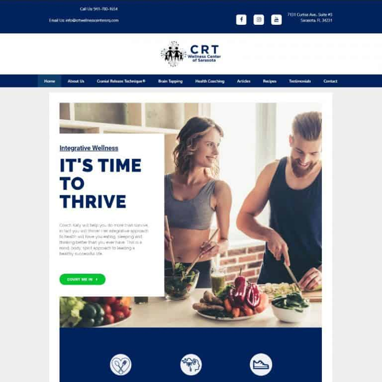 CRT Wellness Center of Sarasota home page website designed by Suncoast Web Marketing