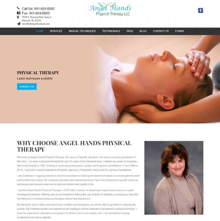 physical therapist located in Sarasota, Florida website designed by Suncoast Web Marketing