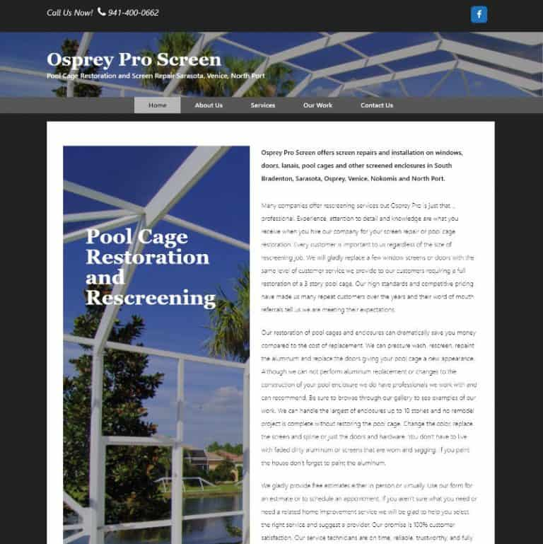 Homepage of website for a pool cage rescreening company in Osprey, Florida website designed by Suncoast Web Marketing