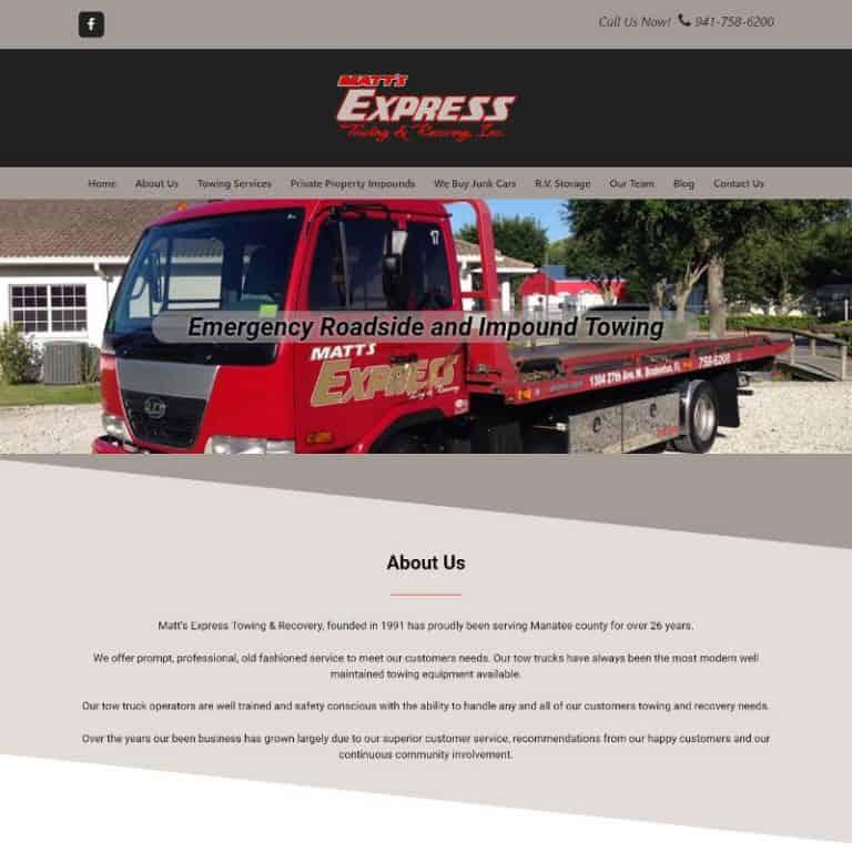 Bradenton Towing company website designed by Suncoast Web Marketing
