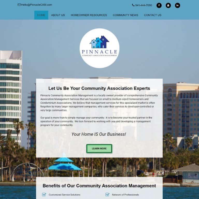 Sarasota Home Association Management website designed by Suncoast Web Marketing