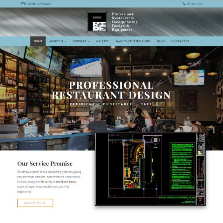 Sarasota Restaurant designer website designed by Suncoast Web Marketing