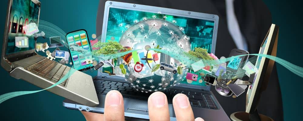 social media acitvity on many screens