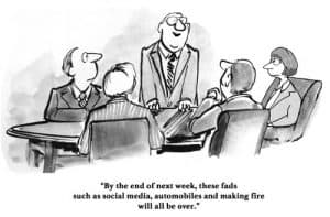 cartoon saying social media is a fad alog with cars and fire