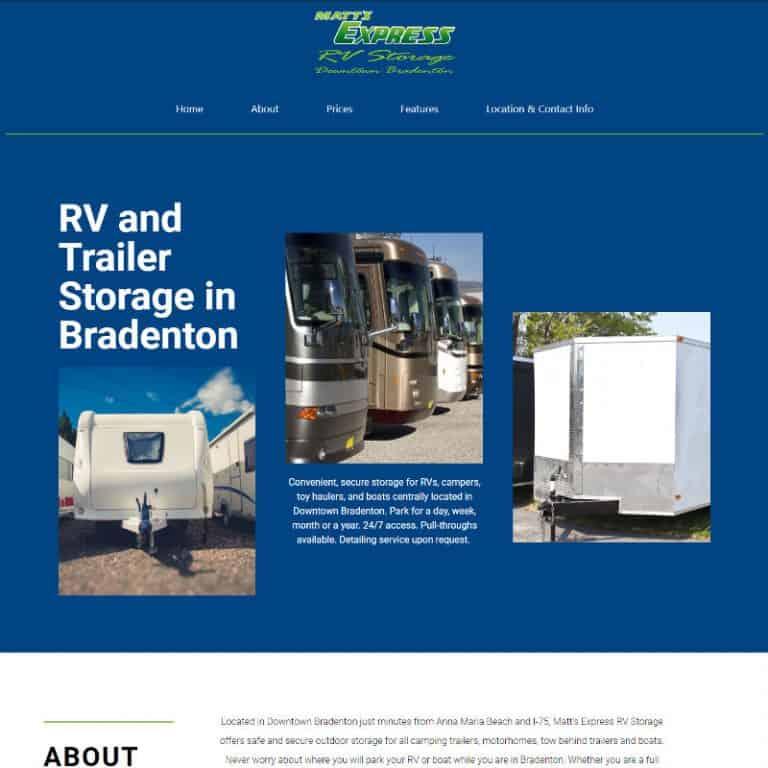 Matt's RV Storage in Bradenton website