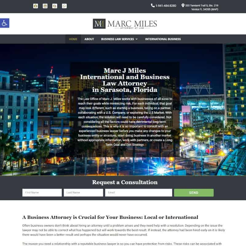 Home page of a law diem website designed by Suncoast Web Marketing