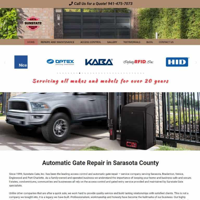 Home page of a gate repair website