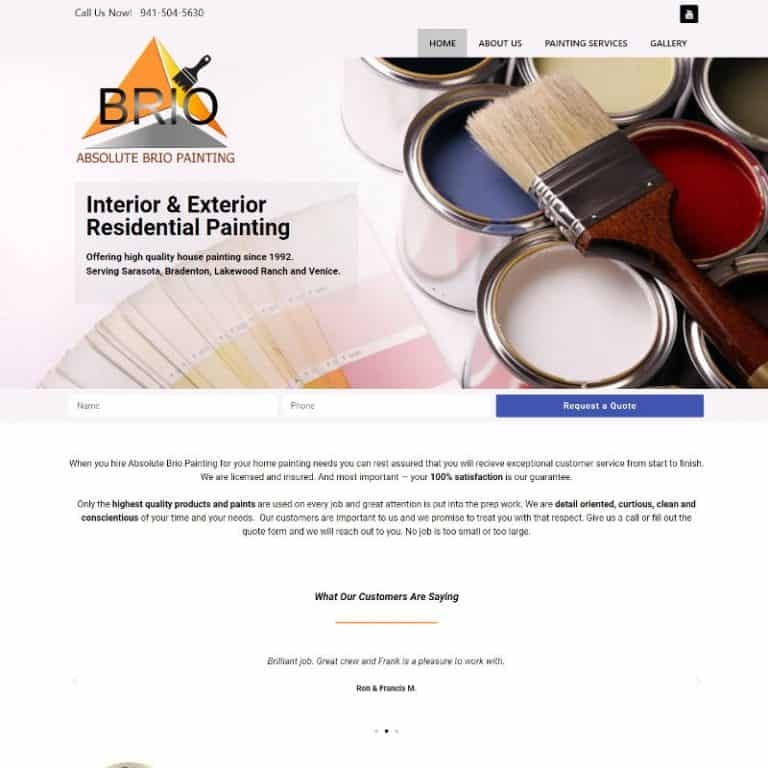 Painting Website home page