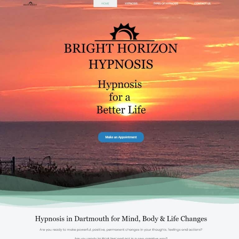 The home page of the Bright Horizon Hypnosis website