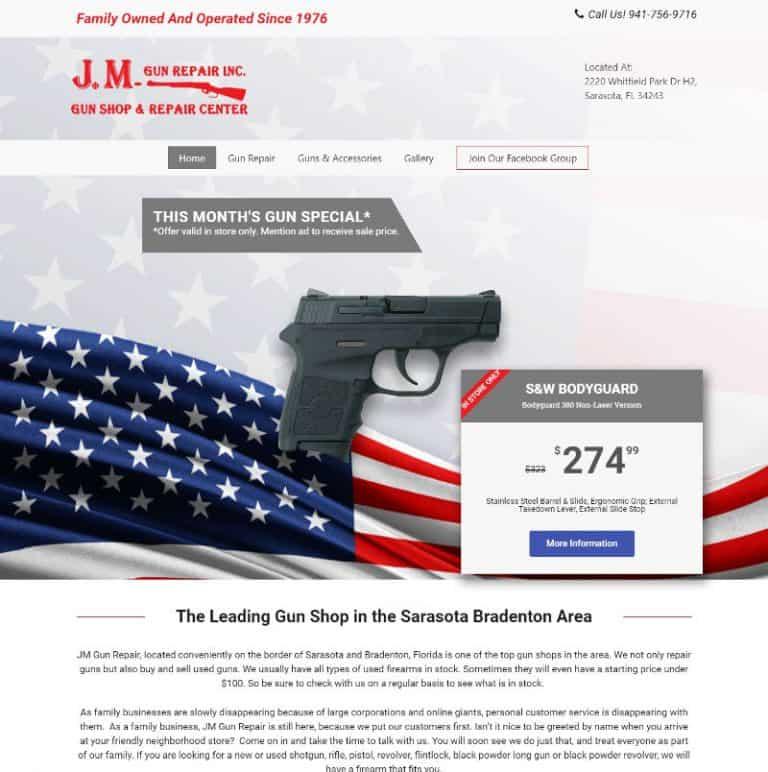 Website for a Gun Repair shop in Sarasota