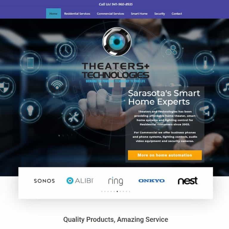 Home page of a website for home theater - smart home company